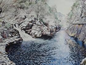 Sandankyo Waterfall in Winter
